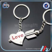 Plaque porte-clés clé coeur