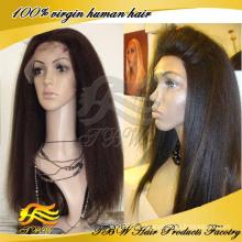 Cheveux vierges brésiliens yaki yaki pleine perruque de lacet, yaki perruques droites de cheveux humains