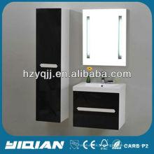 Armário de banheiro moderno de suspensão europeu brilhante com armário lateral livre, único pedaço, espelho LED, MDF, banheiro, vaidade