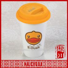Gobelet en céramique à double paroi, tasse avec couvercle en silicone
