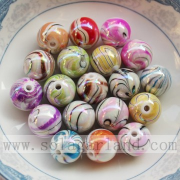AB finished acrylic round beads with grain