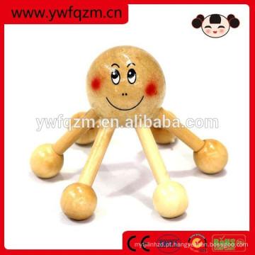 Massageador de cabeça de salão de madeira em forma de polvo