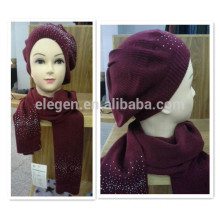 Red Acrylic Hat and Scarf Set with Rhinestone
