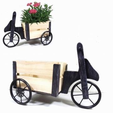 Antique Garden Decoration Tricycle en métal Carriage en bois Flowerpot Craft
