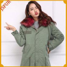 Parka Woman Customized size Fox Fur Free Size Jacket Military Parka