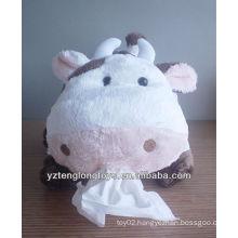 plush animal design cow style decorative car tissue box cover