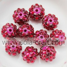 Resin Rhinestone Beads10*12MM Rose Solid Small Spacers For DIY Necklace