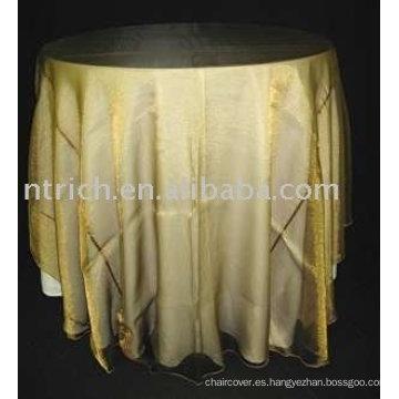 Mantel, ropa de mesa cubierta de tabla del poliester, superposición de organza