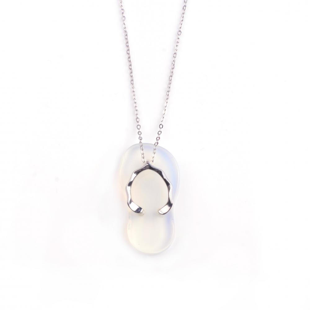 Fashionable Cute Slipper Opal Stone Necklace Pendant with Silver Plated Necklace