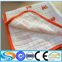 china factory 100%cotton muslin printing fabric baby blanket