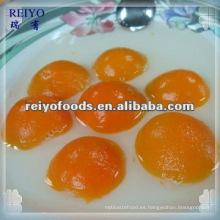 Albaricoque en conserva de calidad seleccionada en jarabe de lisht