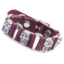 Fashion real top layer cow leather bracelet for men zinc alloy skull accessories vintage bangle wholesale