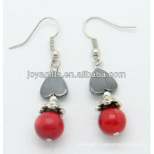 Wholesale red coral with hematite heart earring