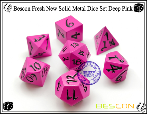 Bescon Fresh New Solid Metal Dice Set Deep Pink-2