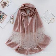 Bufanda ligera de las mujeres de la moda bufanda de acrílico del 75% de la seda el 75% con el diamante