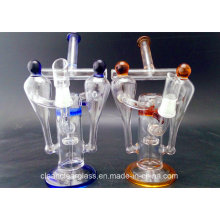 Wholesale Double Chamber Glass Water Pipe Oil Rig Recycler with Honeycomb Perc and Tyre Perc