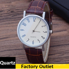Hot Luxury Brand Geneva Watch Men Fashion Number Leather Black Casual Watch