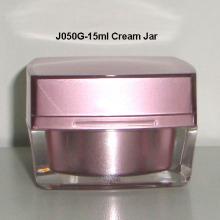 Forma cuadrada tapa acrílica tarro de crema J050G