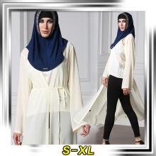 Basic item women muslim wear soft polyester dubai chiffon solid color long sleeve dress abaya