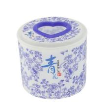 Boîte en tissu ronde en plastique en porcelaine bleue et blanche (FF-5005-2)