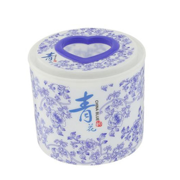 Blaue & weiße Porzellan-Plastik Runde Tissue Box (FF-5005-2)