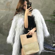 Nouveau style dames réel réel manteaux de fourrure de raton laveur