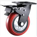 Support noir 8 pouces Roues PU roulettes pivotantes industrielles robustes