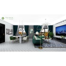 Светло-зеленый диван и мраморный журнальный столик