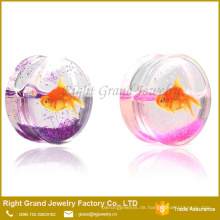Klar UV Acryl Liquid Glitter Goldfisch Tunnel Ohr Plug Bahre