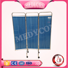 blue color folding hospital beside screen ward with wheels