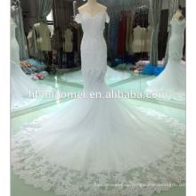 Korea-Art weg von der Schulter appliqued Brautkleider in voller Länge Brautkleid 2018