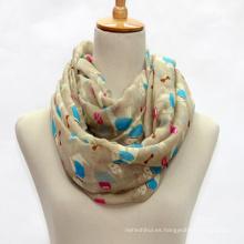 Los precios baratos perro impresa bufanda damas con textura bufanda de poliéster al por mayor para dama