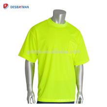 Salut Vis Cool Lime Orange O-cou Mens Tee 100% Mèche Polyester Mesh Non-ANSI T-shirt à Manches Courtes Avec Poitrine Poche Pour L'été