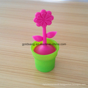 Beautiful Flower Shape with Salver Silicone+304 Stainless Steel Tea Infuser