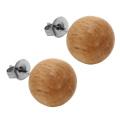 Brincos de madeira natural orgânico do brinco da bola de 10mm