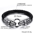 Mens Double Dragon Head Charms Crochet Bracelet en cuir