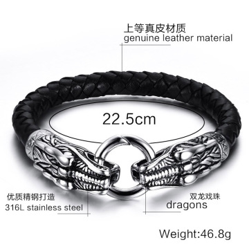 Mens Double Dragon Head Charms Hook Läderarmband