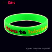 En gros promotion silicone caoutchouc sport bracelet bracelet bande