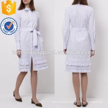Vestido de algodón con cuello bordado a rayas blanco y azul Fabricación al por mayor Vestido de mujer con estilo (TA4075D)