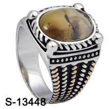 Neue u. Personifizierte Entwürfe 925 Sterlingsilber-Mann-Ring mit natürlichem Stein (S-13448)