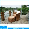 Vente chaude chaise de jardin en osier de loisirs avec Ottoman