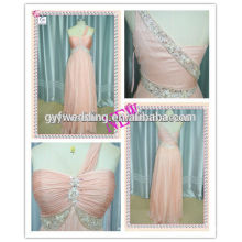 Alibaba China 2016 Wholesale European Beading Waist Free Prom Long Women Chiffon One Shoulder Evening Dress ED3540
