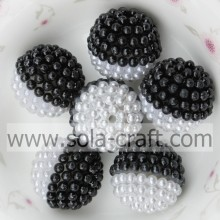 Popular Design for Acrylic Rhinestone Beads 19MM Handmade Black And White Acrylic Pearl With Hole supply to Guinea Supplier