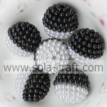 19MM Handmade Black And White Acrylic Pearl With Hole