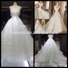 1A033 Dreamy Bud Silk Appliqued sans manches Back Lace Sweetheart Robe de mariée Robe de mariée