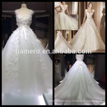 1A033 мечтательный шелк бутона аппликация рукавов кружева милая бальное платье свадебное платье