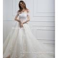 Echte Probe ein Wort Schulter Spitze Guangzhou Hochzeitskleid mit langen Schwanz