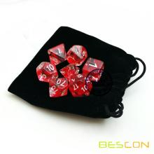 Bescon Polyhedral 7-Die Red Nebulous Dice Set Role Playing Dice Set D4-D20 in Velvet Bag Packing