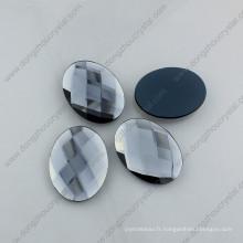 Pierre en verre en vrac de forme ovale de qualité populaire d'art pour la décoration