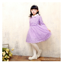 new design baby grils sweater lace dress for autumn or winter
